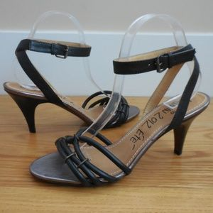 NEW $795~LANVIN~Rolled Black Leather Sandals~8/8.5